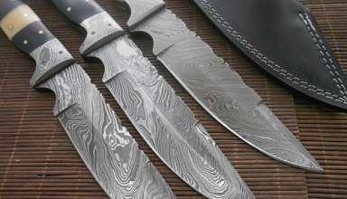 şam damascus çeliğinden yapılma desenli bıçaklar