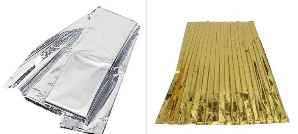 gümüş ve altın renkli termal battaniyeler.