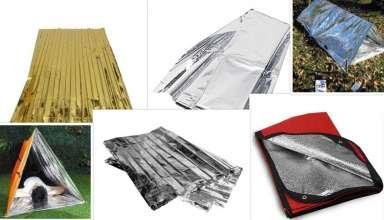 çeşitli termal battaniyeler ve termal battaniyeden yapılmış geçici barınaklar